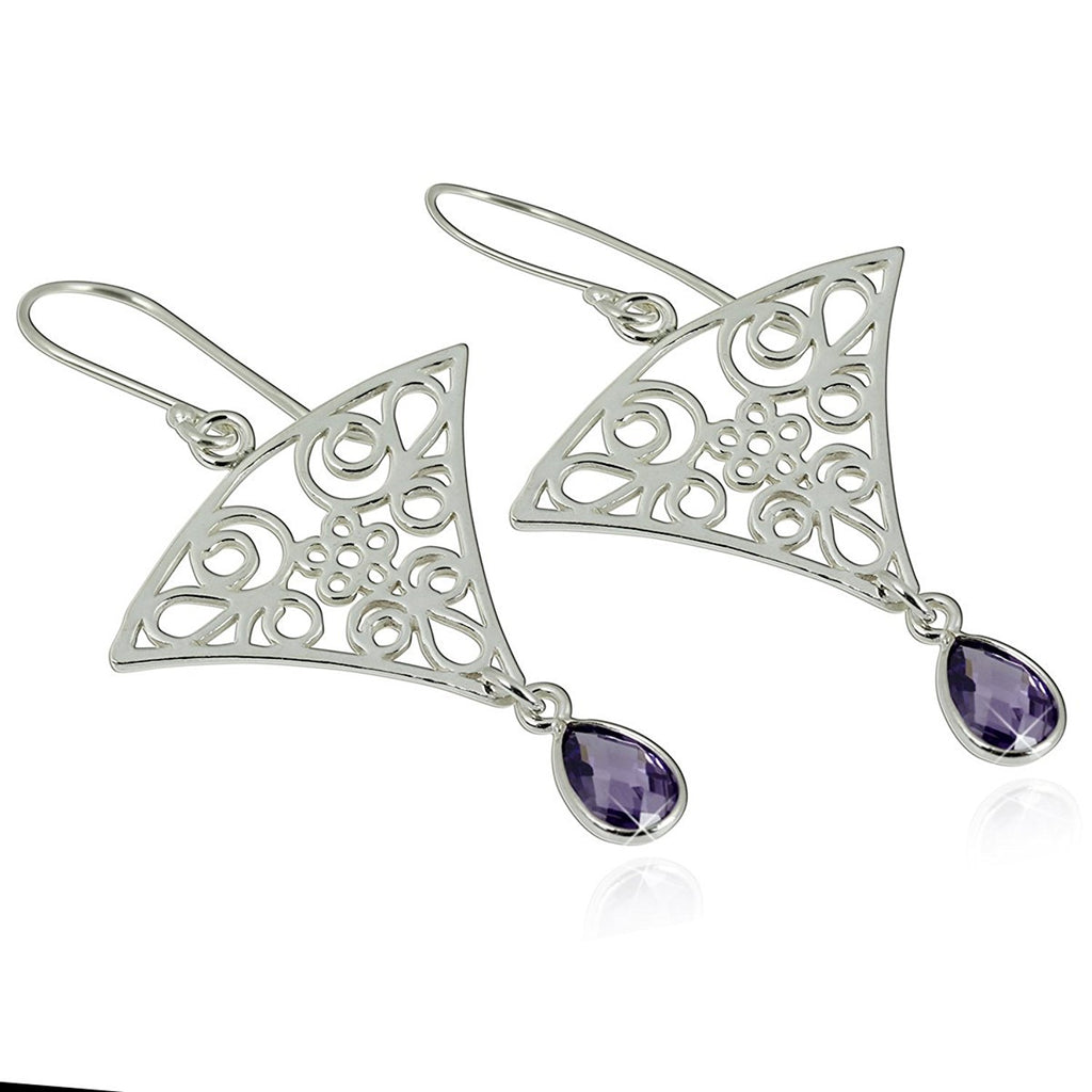 Triangular Dangle Earrings with Intricate Floral Design and Teardrop Purple Cz in 925 Sterling Silver