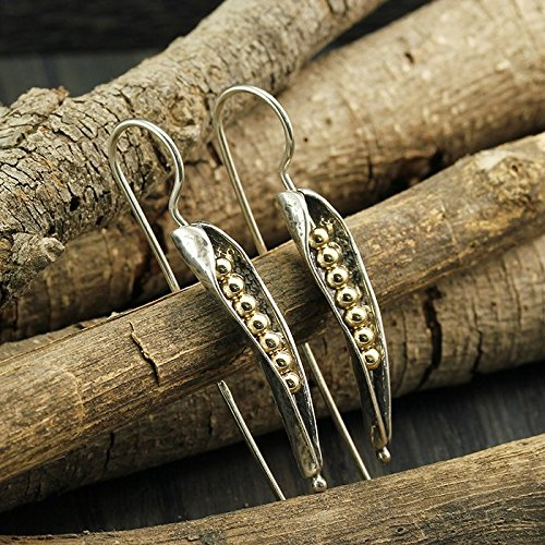 Women's Silver Pea Pod Earrings with Yellow 14k Gold Filled Beads