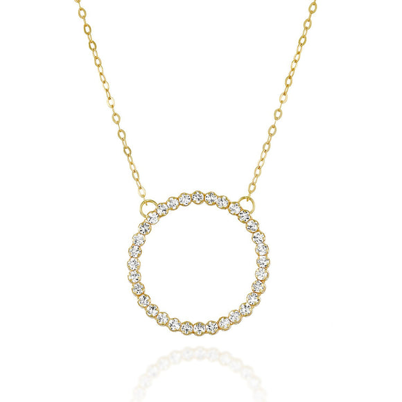 Gold Swarovski Crystal Eternity Circle Pendant Necklace, 18