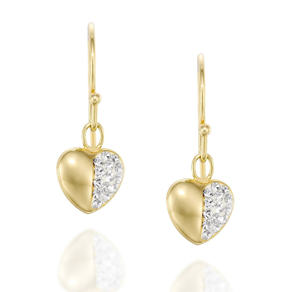 Dainty Gold or Silver Swarovski Pave Heart Earrings – Stera Jewelry db54f4ca86