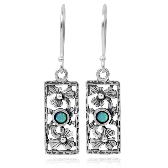 925 Sterling Silver Created Blue Fire Opal Rectangle Retro Dangle Earrings with Decorative Floral Design