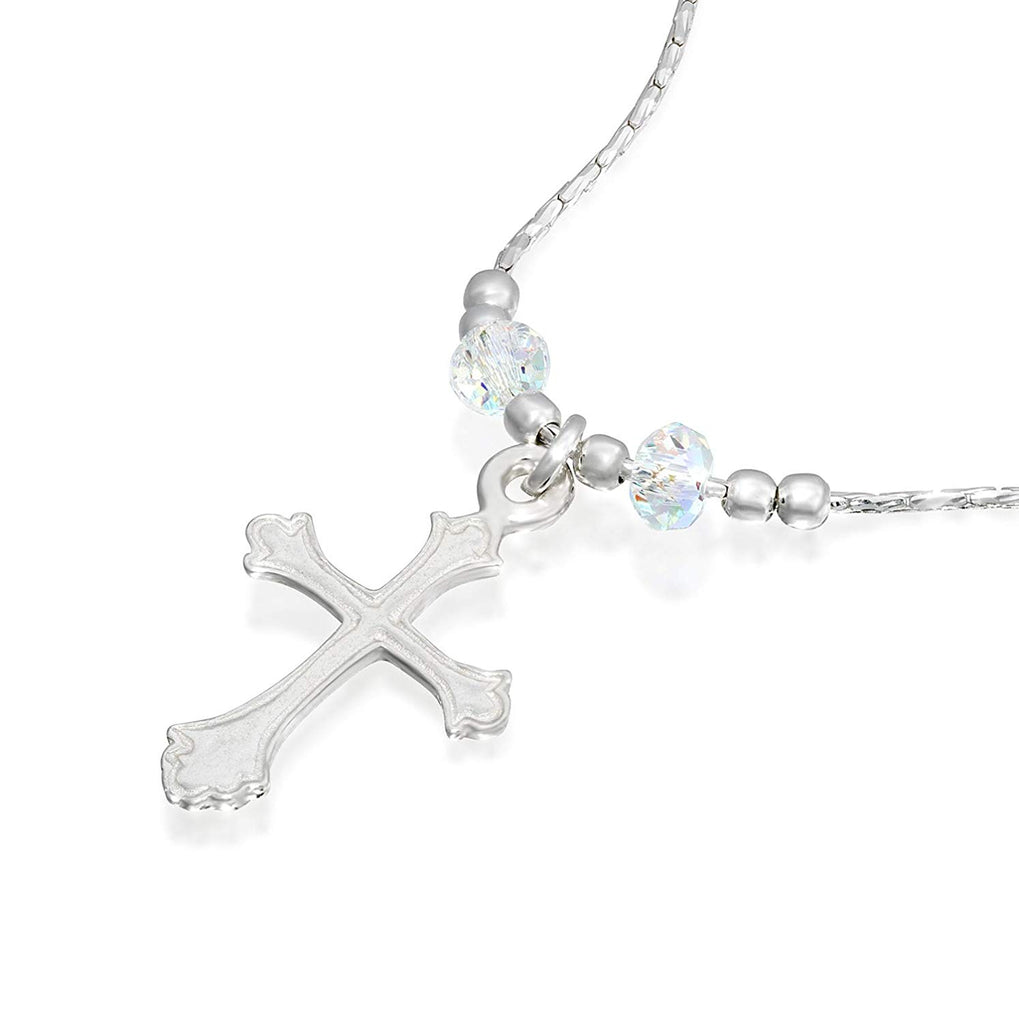"Girls Ornate Silver Cross Pendant Necklace with Swarovski AB Crystals, 16"" + 4"" Extender"