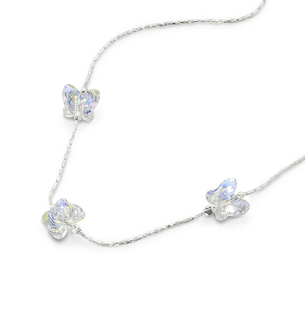 "Choice of Colors Girls Swarovski Crystal Butterfly Necklace, 16"" + 4 Extender"
