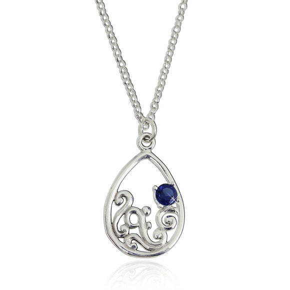 Ornate Teardrop Pendant 925 Sterling Silver Neckalce with Faceted Synthetic Blue Stone, 18