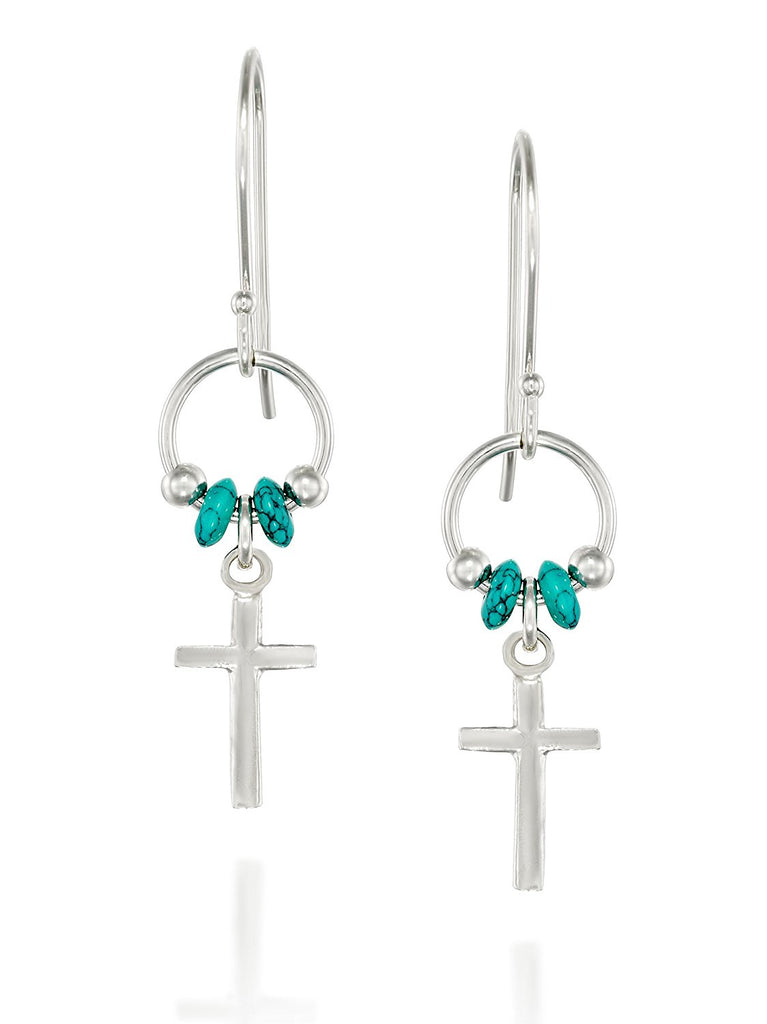 925 Sterling Silver Cross Earrings with Turquoise Beads Accents and French Wire Hooks