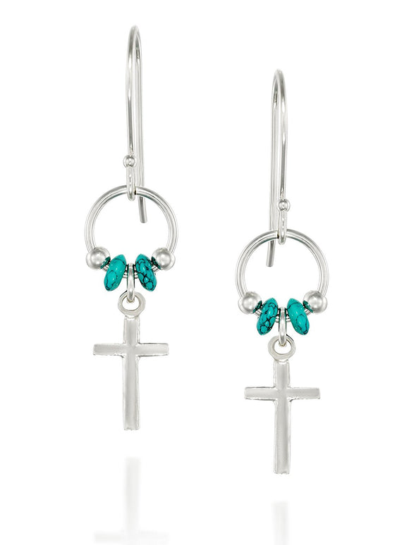 925 Sterling Silver Cross Dangle Earrings with Turquoise Beads Accents