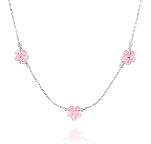 Girls Pink or Violet Swarovski Crystal Flowers Necklace, 16