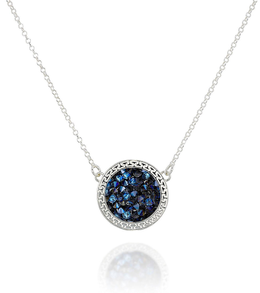 "Swarovski Pavé Crystal Rock Pendant Necklace for Women, 18""+4"" Extender"