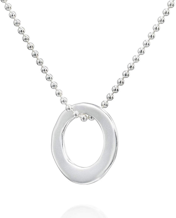 "24"" Minimalist Sterling Silver Eternity Necklace & Matte Round Pendant"