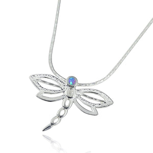 "Silver Dragonfly Pendant Necklace with 2 mm Blue Fire Opal, 18"" + 4"" Extender"