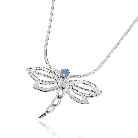 Silver Dragonfly Pendant Necklace with 2 mm Blue Fire Opal, 18