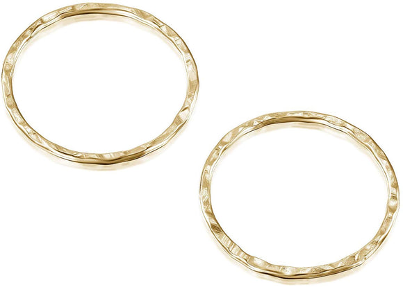 14k Gold-Filled 17 mm Hand Hammered Hoops Rings or Loops Jewelry Findings for Your DIY Earrings Necklaces & Bracelets Creations, 4 Pcs