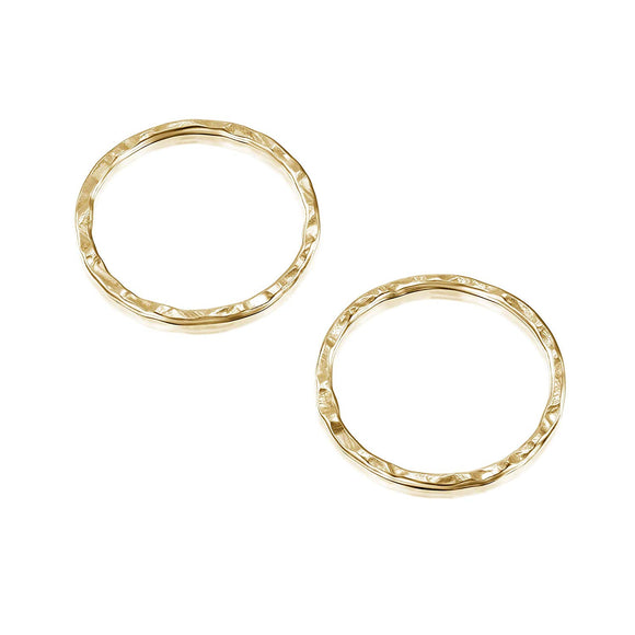 14k Gold-Filled 15 mm Hand Hammered Hoops Rings or Loops Jewelry Findings for Your DIY Earrings Necklaces & Bracelets Creations, 4 Pcs