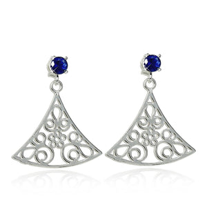 Triangular 925 Sterling Silver Post Earrings with Ornate Floral Design and Blue Synthetic Stones