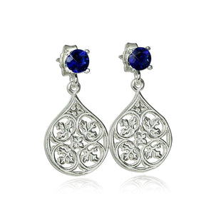 Teardrop 925 Sterling Silver Filigree Post Earrings with Synthetic Blue Faceted Stones
