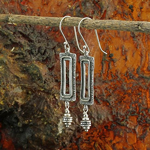 Vintage Look 925 Sterling Silver Rectangle Dangle Earrings Unique Artisan Design