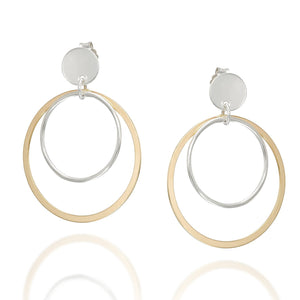 Women's Silver & Gold Graduated Hoops Post Earrings with Butterfly Backs