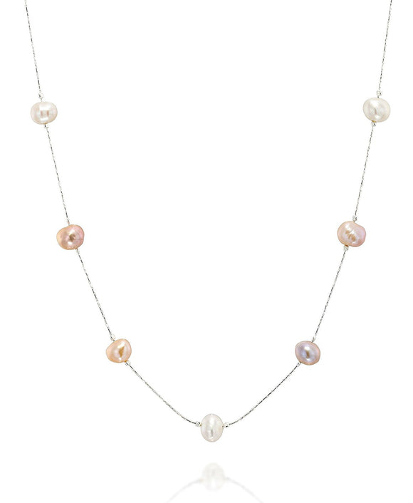 Colored or White Pearl Necklace, 18