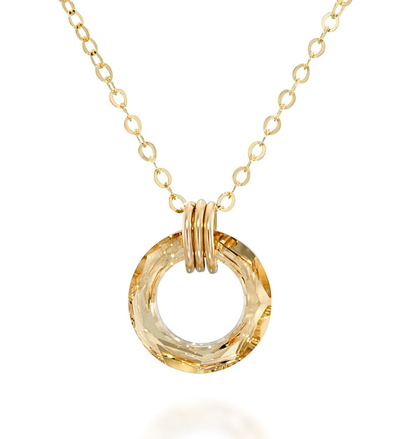 Golden Shadow Swarovski Cosmic Ring Crystal Pendant Necklace, 18