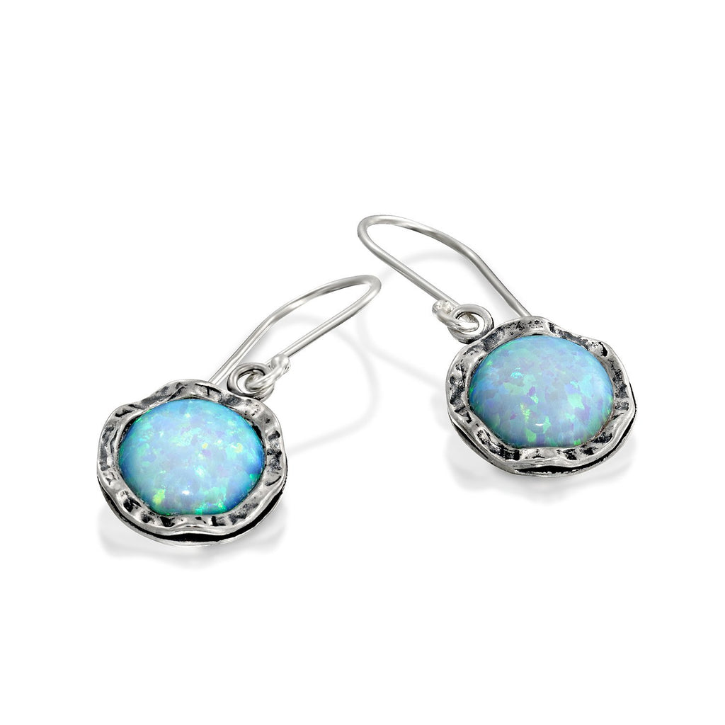 Shimmering Round 925 Sterling Silver Drop Earrings with 10mm Created White Opal