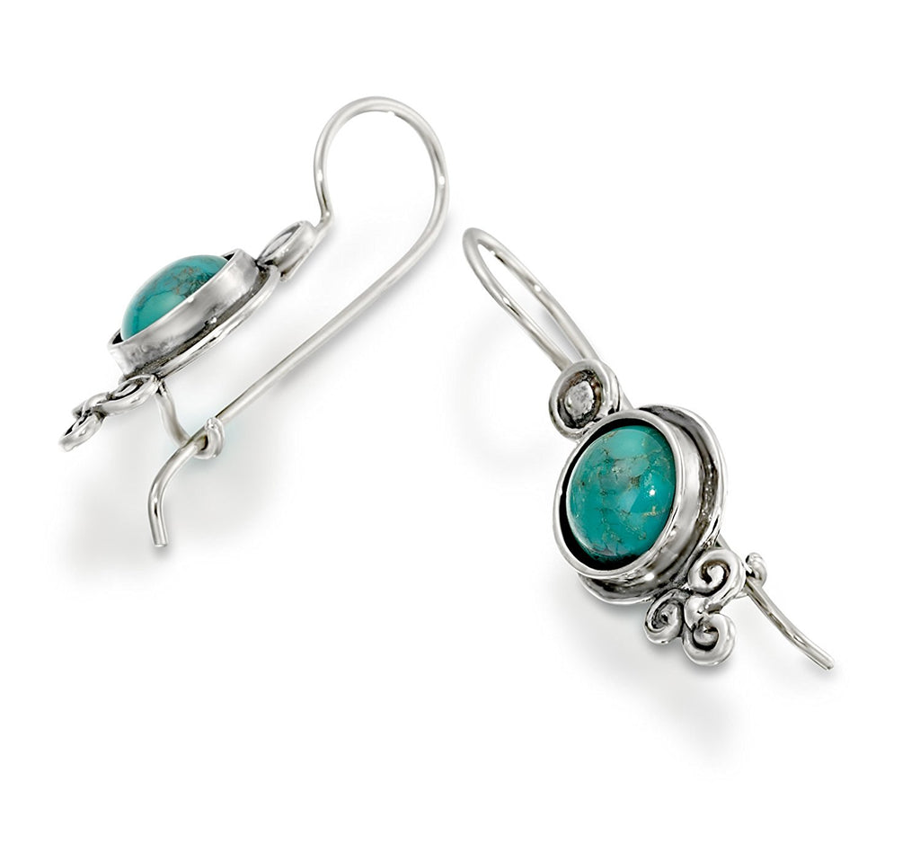 Antique Style 925 Sterling Silver Turquoise Earrings With Secure Backs Wire & Hook Closure