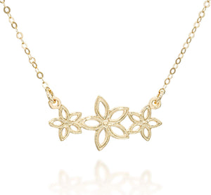 "Flowers Pendant 14k Gold Plated Garland Necklace, 18""+4"" Extender"
