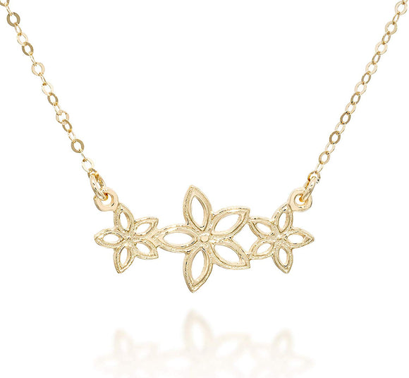 Flowers Pendant 14k Gold Plated Garland Necklace, 18