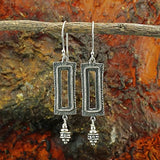 Stera Jewelry Unique Retro Design 925 Sterling Silver Ornate Rectangle Dangle Earrings