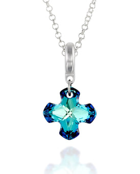 "Choice of Colors Bermuda Blue or Silver Night Swarovski Crystal Cross Pendant Necklace, 18"" + 4"" Extender"