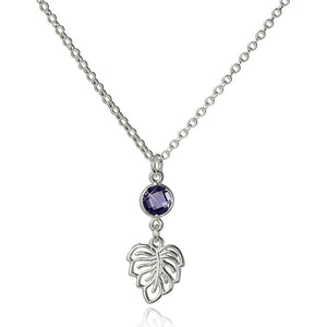 "Women's Delightful 925 Sterling Silver Ornate Leaf Pendant Necklace with Purple Cz, 18"" + 4"" Extender"