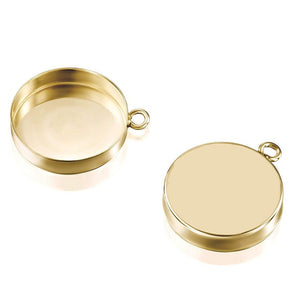 14k Gold-Filled Round Setting with 1 Loop 15 mm Bezel Cup Findings for Pendants Charms Earrings, 1 Pc