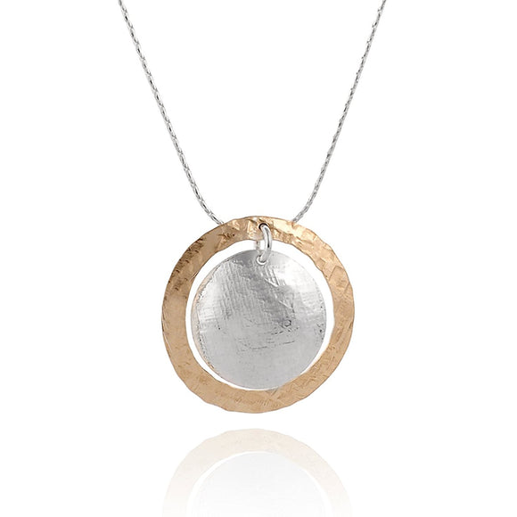 Hand Hammered Silver & Gold Domed Disc Pendant Necklace, 18