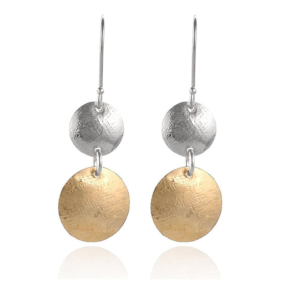 Handmade Women's Silver & Gold Graduated Textured Discs Dangle Earrings