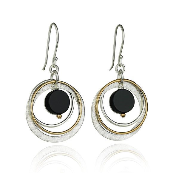 Handmade Two Tone Black Onyx Multi Hoops Circle Earrings