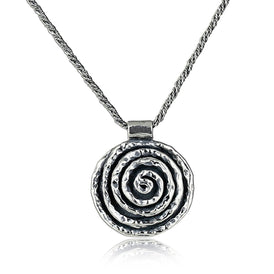 Solid 925 Sterling Silver Rose Necklace Spiral Pendant with Twisted Foxtail Chain, 20""