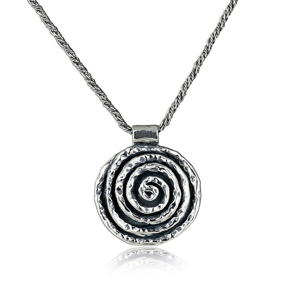 Solid 925 Sterling Silver Rose Necklace Spiral Pendant with Twisted Foxtail Chain, 20