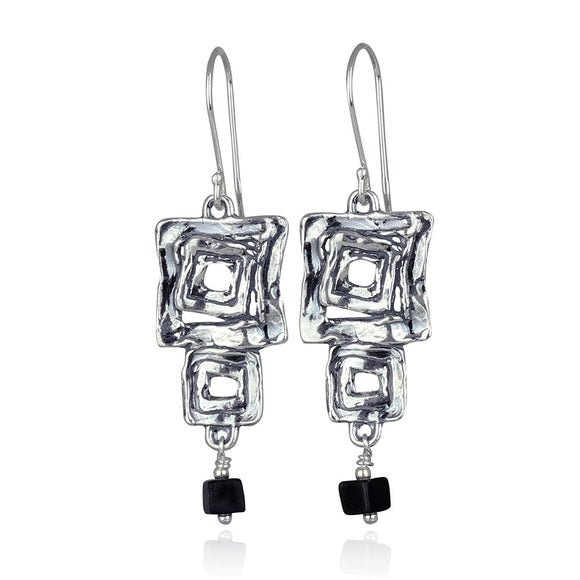 Unique Design Dangle Earrings Multi Squares Matte Black Onyx Cube Bead 925 Sterling Silver Earring
