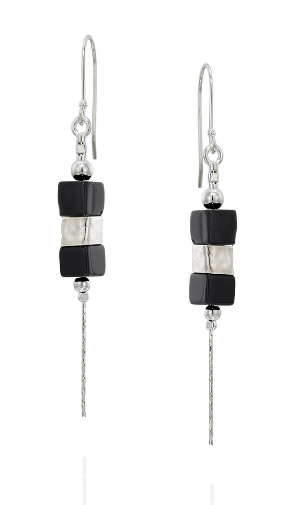 Black Onyx 925 Sterling Silver Gemstone Dangle Earrings Contemporary and Stylish Women's Jewelry
