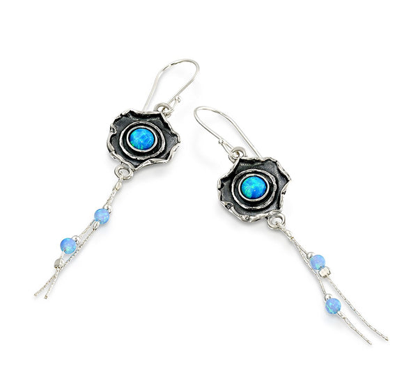 Vintage Look Flower Dangle Earrings 925 Sterling Silver & Created Blue Fire Opal