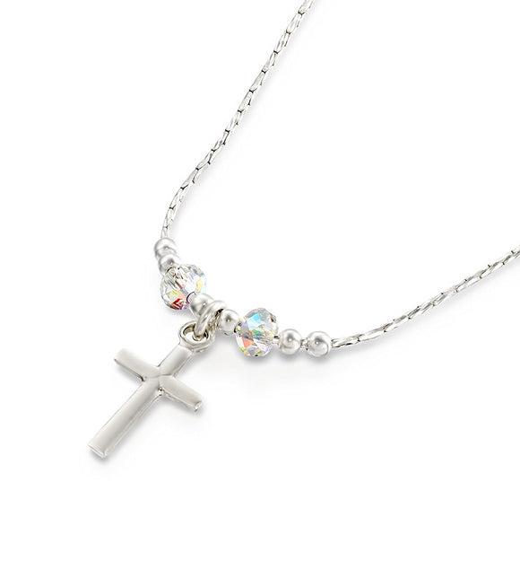 Girls Silver Cross Pendant Necklace with Swarovski AB Crystals, 16