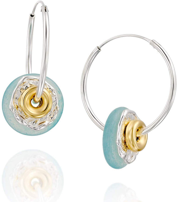 "Stera Jewelry Aqua Agate 925 Silver 1"" Endless Hoop Earrings with Gold-filled Donut Shaped Beads"