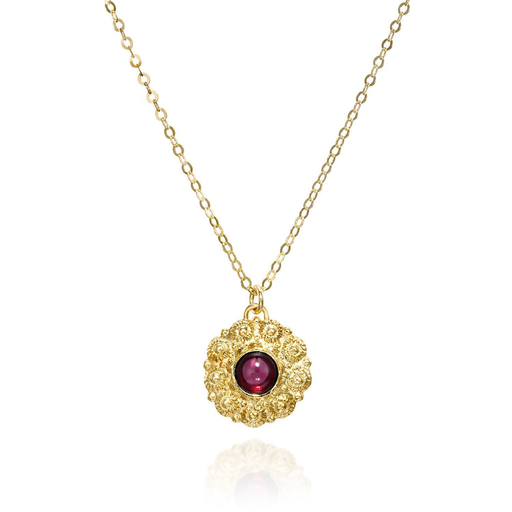 "Women's Gold Garnet Gemstone Flower Pendant Necklace, 18""+4"" Extender"