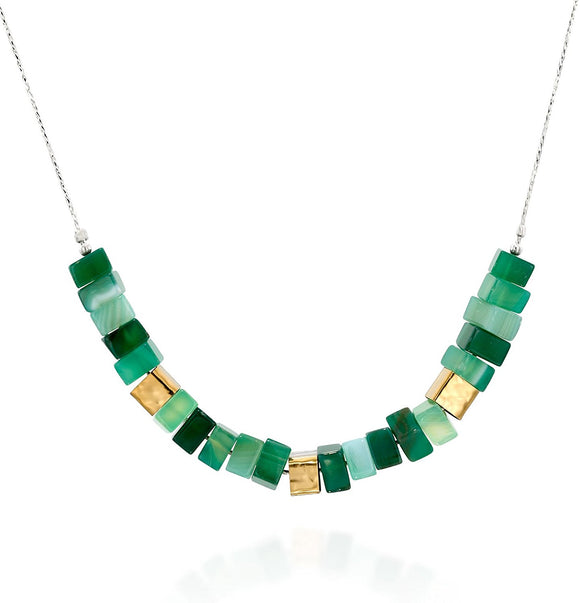 925 Sterling Silver Green Agate Square Bead Necklace, 18