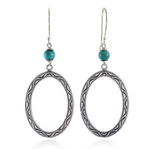 Stera Jewelry 925 Sterling Silver Large Oval Earrings with Compressed Turquoise Beads