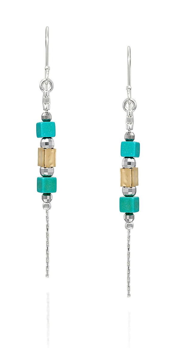 Two Tone Silver & Gold Turquoise Dangle Earrings Chic & Stylish Women's Jewelry