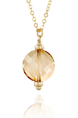 "Gold or Silver Swarovski Crystal Twisted Disc Necklace, 22""+4"" Extender"