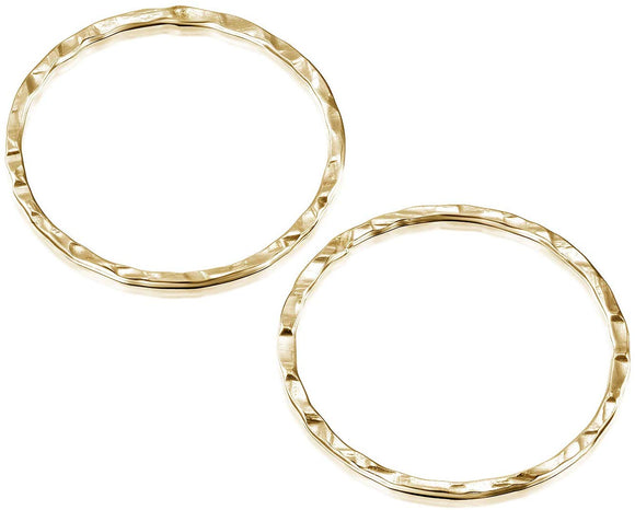 14k Gold-Filled 20 mm Hand Hammered Hoops Rings or Loops Jewelry Findings for Your DIY Earrings Necklaces & Bracelets Creations, 4 Pcs