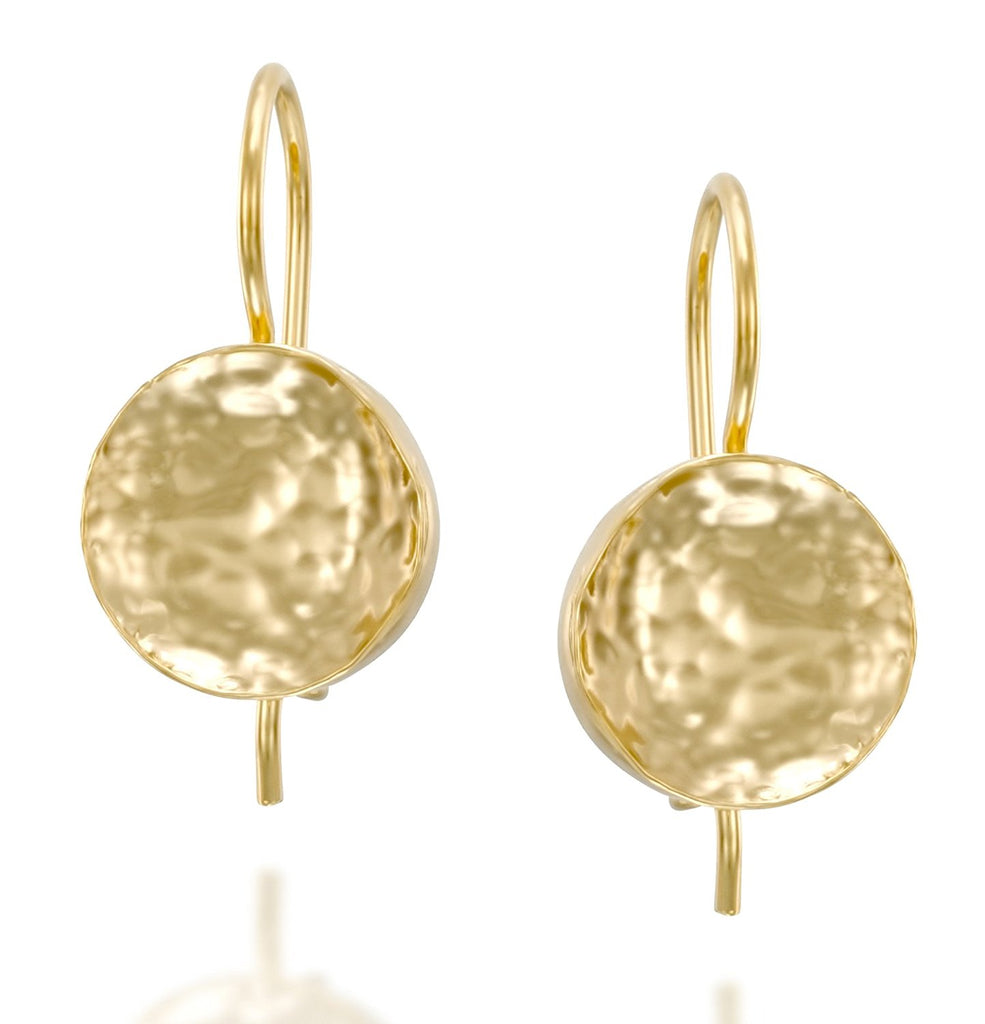 Women's Gold Drop Earrings Hand Hammered Round Shaped with Secure Backs