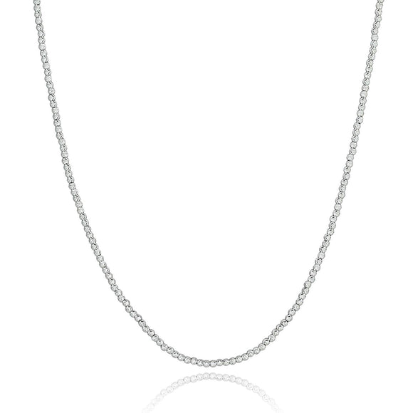 Stera Jewelry Dazzling Rhodium Plated 925 Sterling Silver Diamond-Cut Beads Necklace, 18 Inches