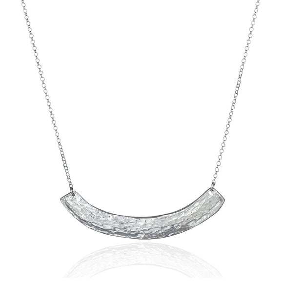 Reversible Hand Hammered Pendant 925 Sterling Silver Necklace, 18